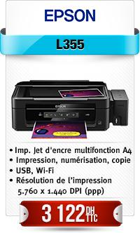 EPSON L355 A4 3en1 33ppm 5760*1440Dpi 1200Dpi bac papier 100