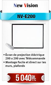 Ecran de projection éléctrique 200 x 200 avec Télécommande
