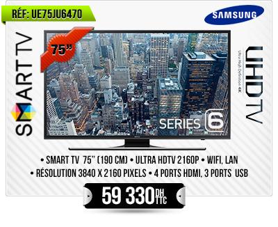 75 POUCES UHD Flat Smart TV - 4K - Noir JU6470 Series 6