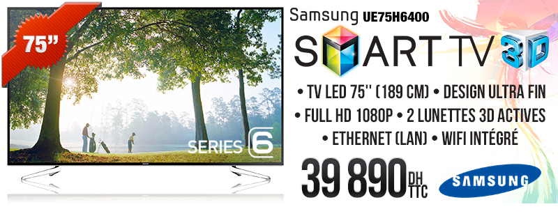 "TELEVISION SAMSUNG 75"" LED 3D SMART TV"